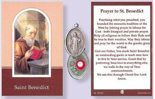 Relics medals and Relic prayer cards with small pieces of cloth depicting St. Bernadette, St. Peregrine, St. Jude, St. Pio, St. Theresa, Saint Francis, Saint Christopher, Saint Anthony, Saint Martin, and St. Martha.