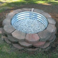 Galvanized and Rock Fire Pit Ring