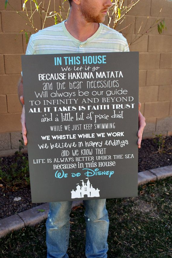 In This House We Do Disney Wooden Sign, Disney Sign, Shabby Chic Disney Quote Sign, We Do Disney, Home Decor, Childrens Room Decor, Sign This