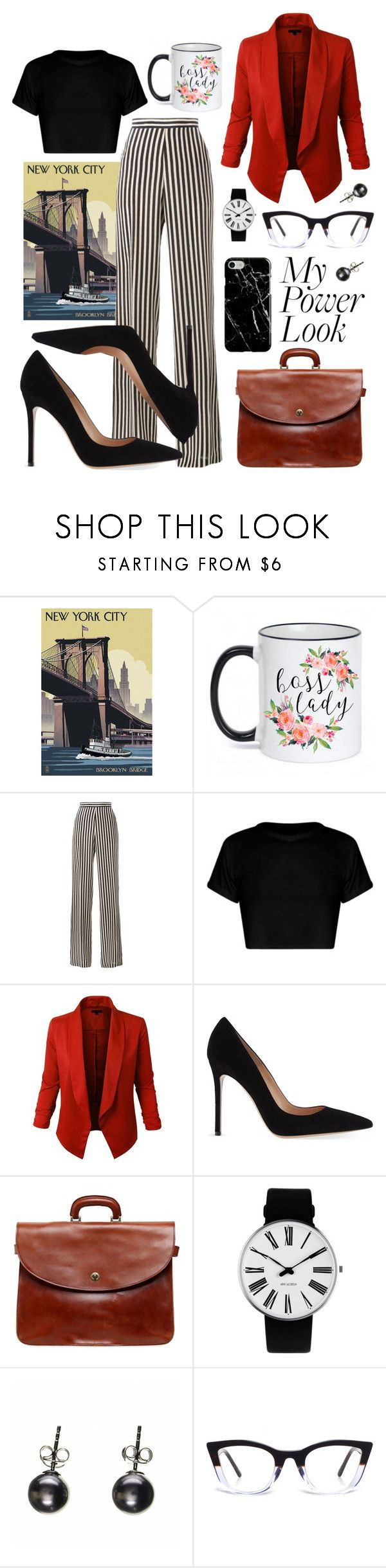 """""""Boss Lady"""" by sngryboski ❤ liked on Polyvore featuring McGaw Graphics, Etro, LE3NO, Gianvito Rossi, Officine Creative, Rosendahl, Black and Recover"""