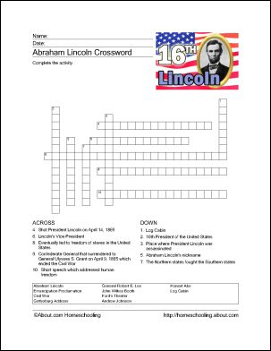 13 Abe Lincoln Games and Activities for President's Day: Abraham Lincoln Crossword Puzzle