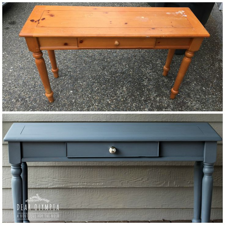 Painted furniture table in Fusion Mineral Paint Soapstone from the Michael Penney Collection / before and after / eco friendly paint / Dear Olympia / buy paint online
