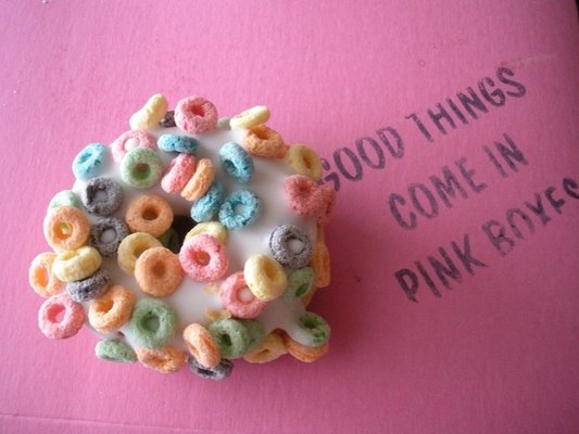 """""""Good Things Come in Pink Boxes"""" so true.  {voodoo donuts - Portland Oregon}"""