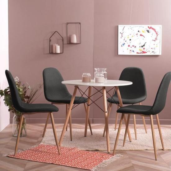 MOF Inspired Eiffel Design Rétro Style Table Ensemble de salle à manger avec 4 chaises