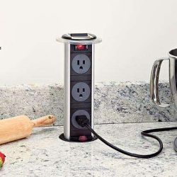 The ultimate space saving design, this kitchen power grommet hides under your counter top when not in use.