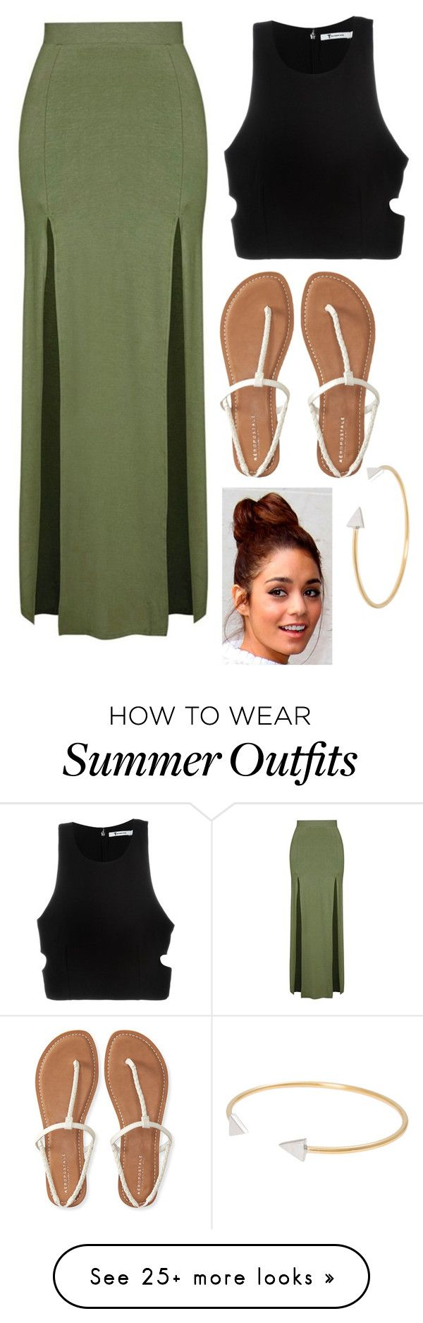 """summer outfit idea"" by kristinamalik on Polyvore featuring Topshop, T By Alexander Wang, Aéropostale and Vanessa Mooney"