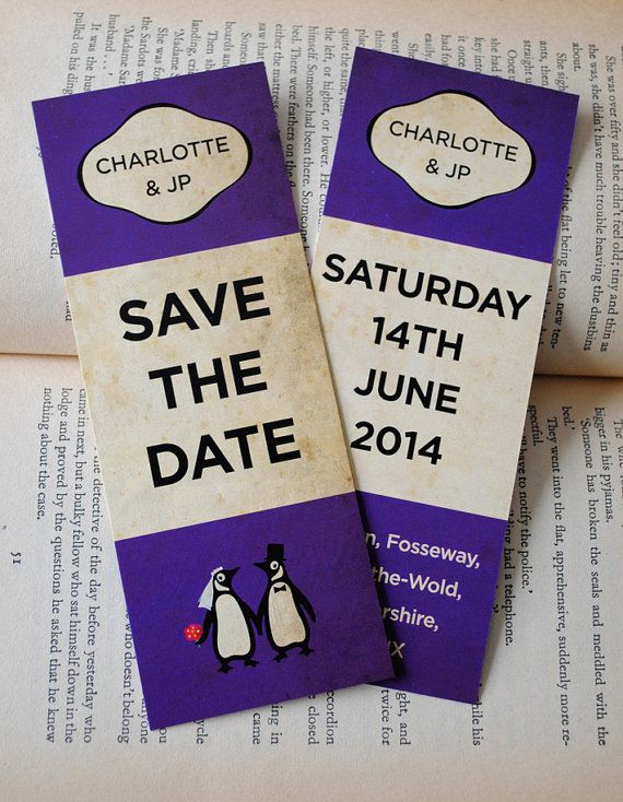 Classic Penguin Books Themed Wedding Save The by MartyMcColgan, £120.00