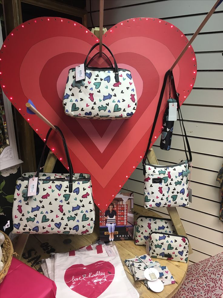 In store Valentines Display featuring Radley love me love my dog Print range.  Radley is available in store.