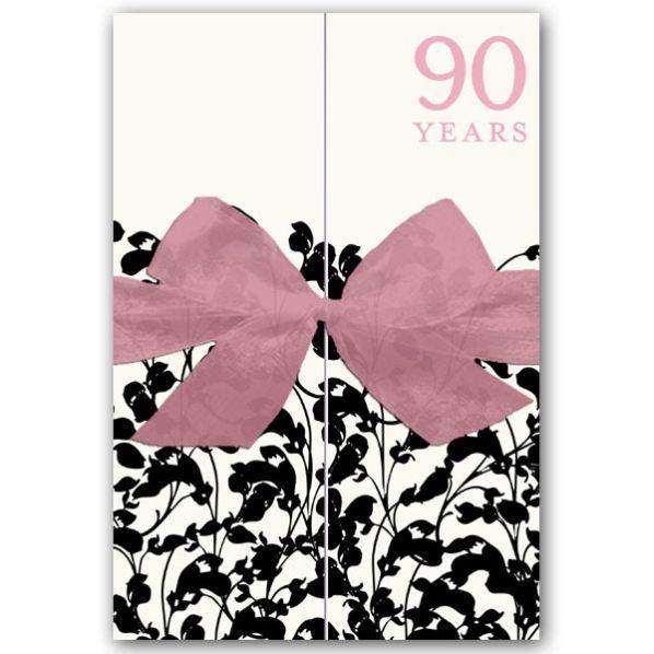Glamour Garden Gatefold 90th Birthday Invitations