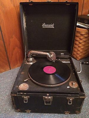 Vintage Brunswick Portable Phonograph Old Record Player