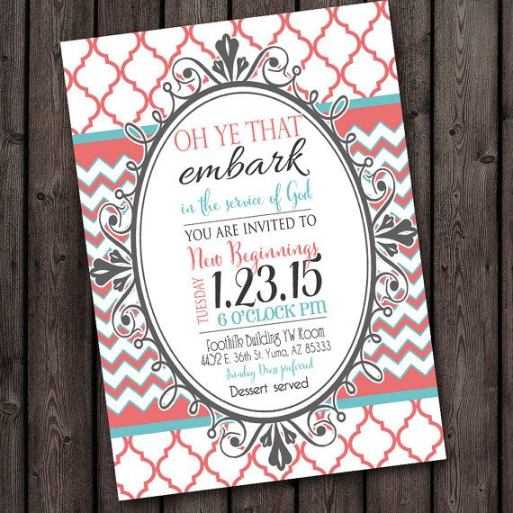 young womens invitation, young womens new beginnings invitation, young women in excellence invitation, 2015 YW theme color and wording customized