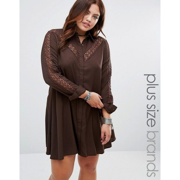 Alice & You Lace Insert Shirt Dress ($42) ❤ liked on Polyvore featuring dresses, brown, plus size, loose fit dress, plus size shirt dress, brown dress, tall plus size dresses and long shirt dress