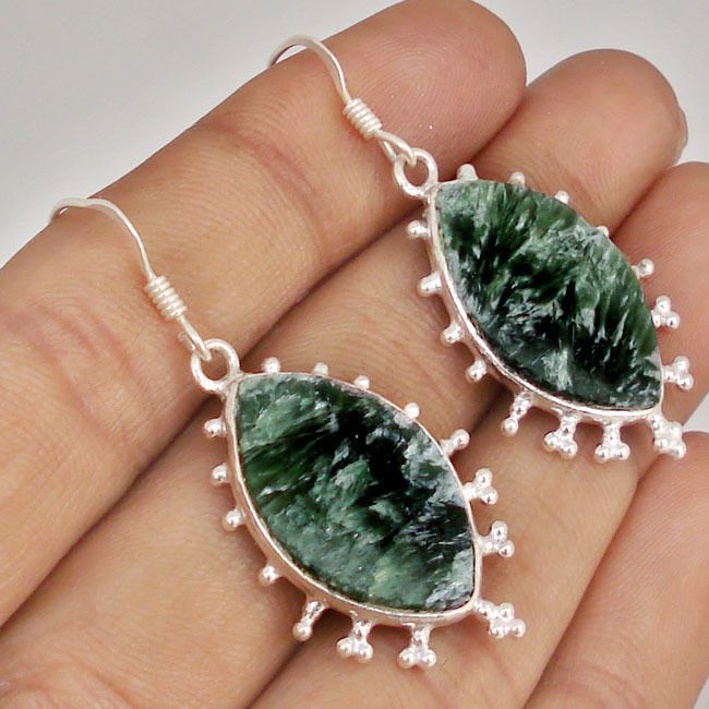 GALLANT GREEN SERAPHINITE GEMSTONE 925 SILVER DANGLE EARRINGS JEWELRY C32795
