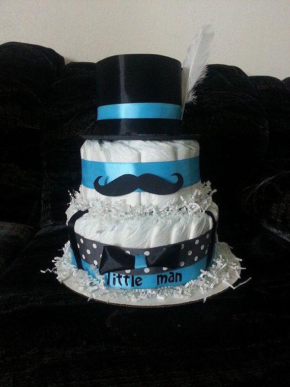 Blue Gray Black Mustache Little Man Diaper Cake Baby
