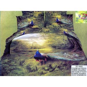 Pościel 160 x 200 satyna bawełniana Paw  3D