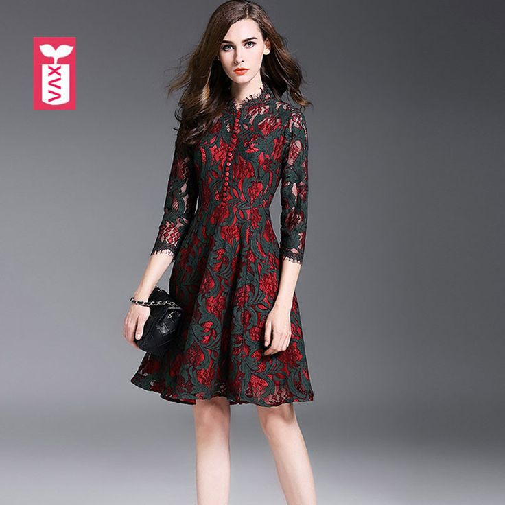 High-grade Lace Brand Female Hollow Out Flame Dresses Femme Formal Slim Waist Vestidos Women Holiday Drop ship 2017