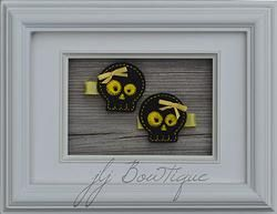 Black and Yellow Skull Hair Clips - hc037 -$5.00 for pair available on jLj Bowtique