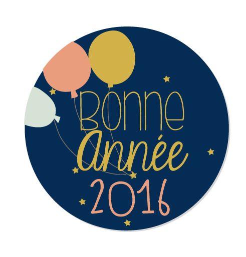 Badge aimanté carte Bonne année 2016 ballon: