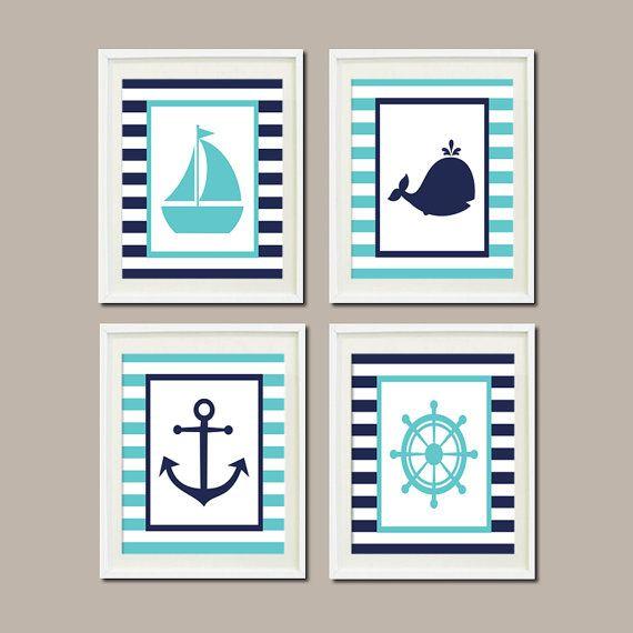 Nautical Nursery Decor Wall Art Aqua Breeze Navy Whale Anchor Sailboat Wheel Set of 4 Prints Boy Girl Bedroom Bathroom Ocean Beach Decor