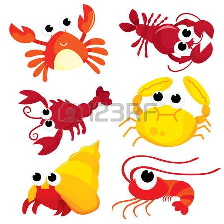 cartoon hermit crab: A colorful cartoon crustacean family vector illustration set. Illustration