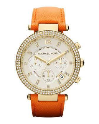 Michael Kors Mid-Size Orange Leather Parker Chronograph Glitz Watch. $225
