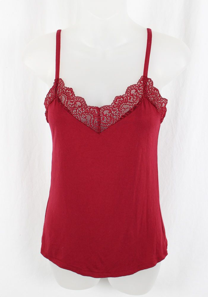 Only Hearts Women's Red Lace Trim Spaghetti Strap Tank Top Shirt Size M #OnlyHearts #TankCami