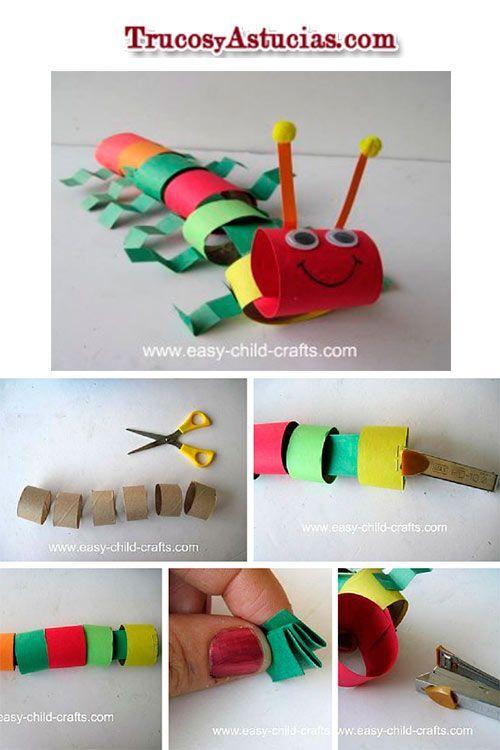 manualidad infantil para hacer un cienpiés con el tubo de papel de cocina