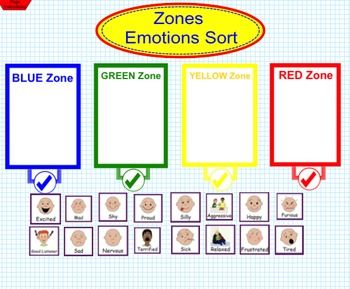 Zones of Regulation Emotions Sort by Socially Savvy in Special Ed   Teachers Pay Teachers