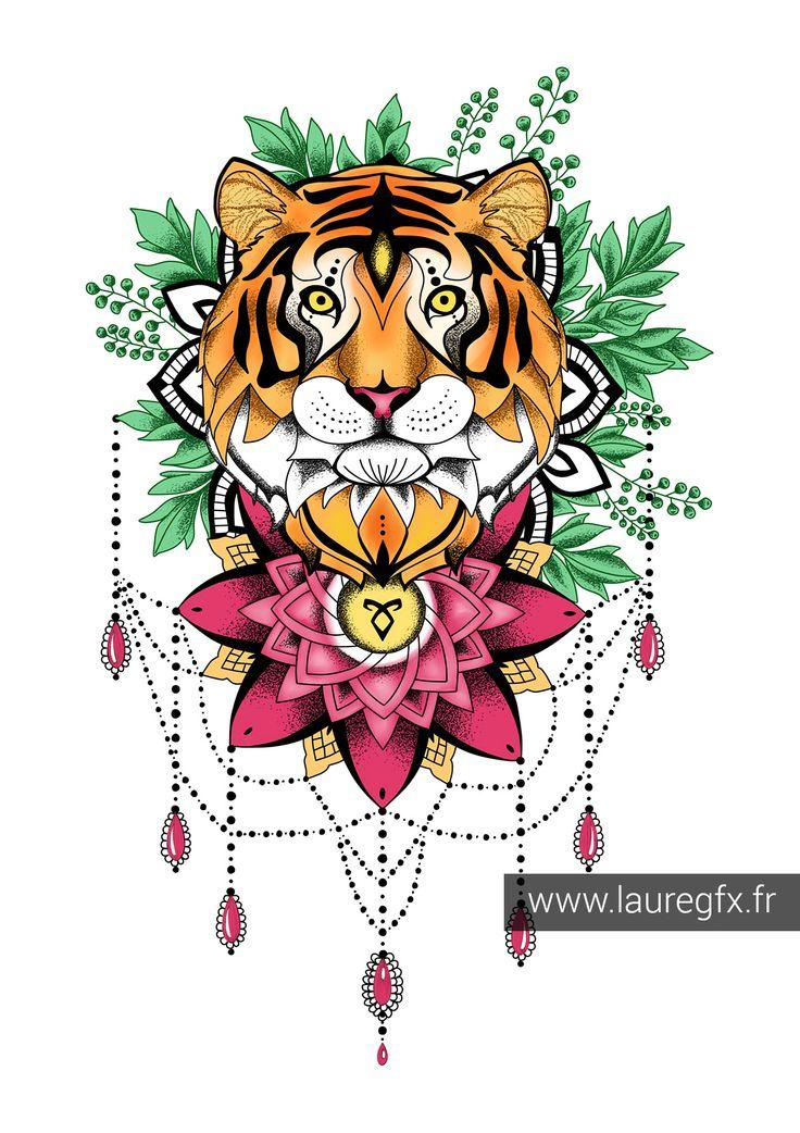 Illustration tigre mandala art reference mandala, love mandala coloring pages
