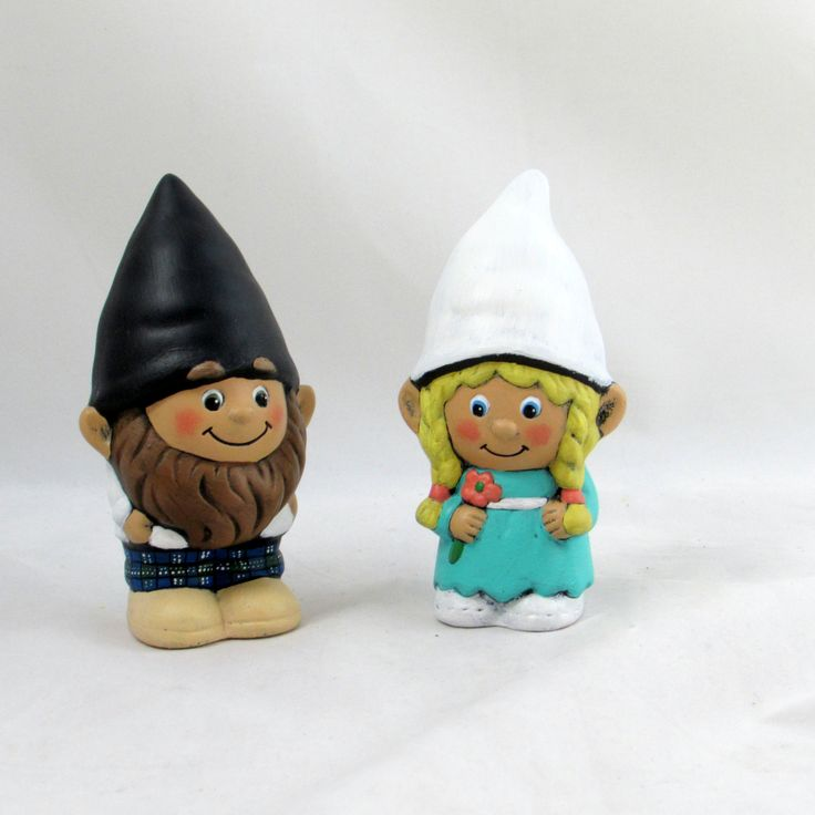 Custom Painted Gnome Cake Topper Set for Weddings, Kilt Groom- 5 inches, garden gnome, outdoor or indoor, wedding cake toppers by aarceramics on Etsy