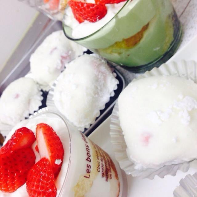 ヤ◯ザキ雪苺娘風!たくさん食べたいので作りました(^O^) - 26件のもぐもぐ - いちごクリーム大福 by お山さん
