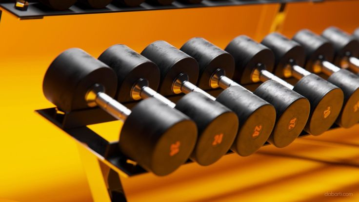Still shot of row of dumbbells on a rack in gym from CGI clips. Rendered with V-Ray RT GPU in Autodesk 3ds max. Closeup of Dumbbells from Studio Dabarti. Selection of clips from February 2016. Our complete RF portfolio you can find here: www.shutterstock.com www.dissolve.com www.pond5.com  More info: dabarti.com/royalty-free-cgi-stocks/ facebook.com/DabartiCGI instagram.com/dabarti_cgi/
