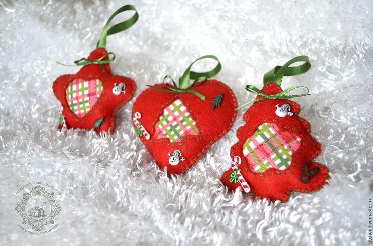 Купить Ёлочные игрушки из фетра - подарки для любимой кухни, кухня, ярко-красный, соцветие