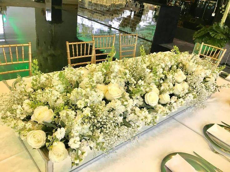 Jardinera alargada para mesa rectangular