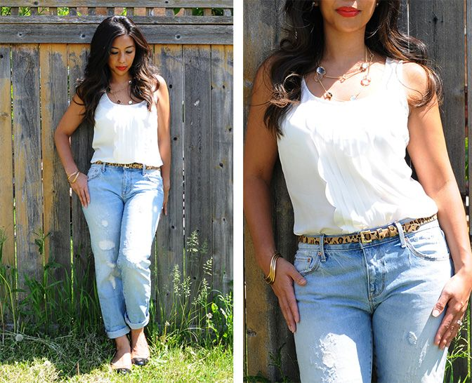 Young Mom Fashion (from head to toe): flattering white top, boyfriend jeans with a slimmer fit, classy and comfortable Tory Burch flats