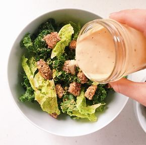 When I graduated from eating chicken tenders every single day of the week,  I moved on to chicken caesar salads. I couldn't get enough of them;crispy  fresh lettuce, creamy dressing, crunchy croutons. It was always satisfying  and I thought probably the most healthy meal on a menu at any restaur