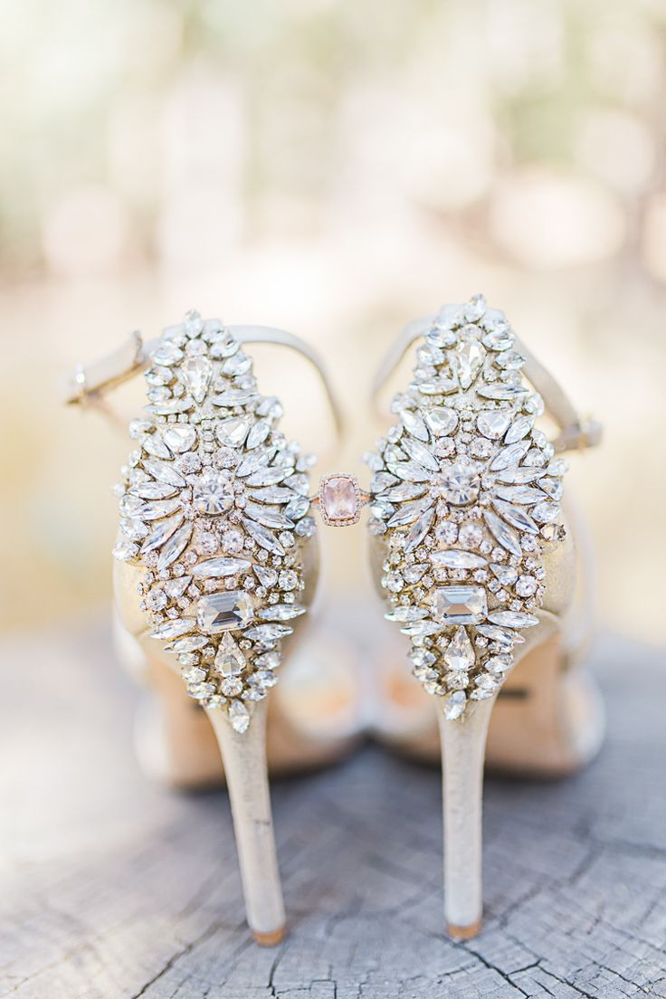 Bride Pink Engagement Ring Statement High Heels Badgley Mischka DIY Whimsical Camp Wedding California