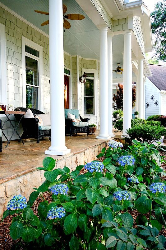 summer southern front porch at - Pretty Porches And Patios
