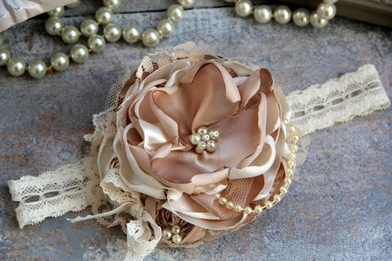 Caramel Beige Couture Headband, Shabby Chic Baby Headband, Flower Headband, Infant Girl Headband, Headband Babies