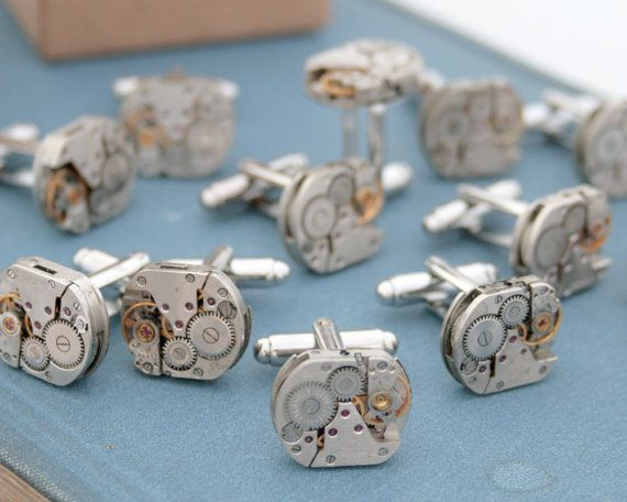 5 Sets Steampunk Cuff Link Groomsmen Gifts - PERFECT!