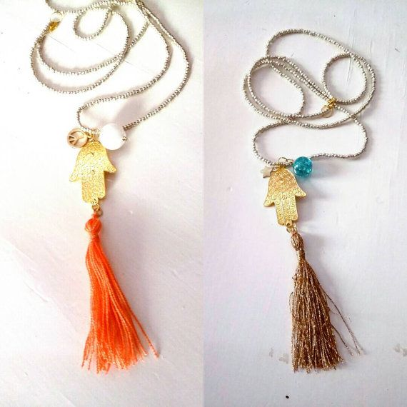 Long necklace Hand of Fatima / ethnic style / by KaterinakiJewelry