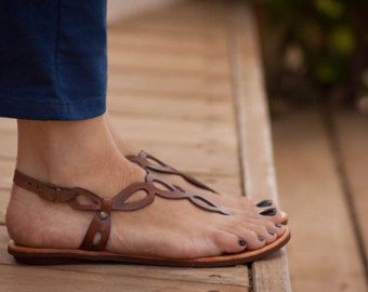 Caramel Brown Suede Leather Sandals Fringe Hippie by PanoParaTanto