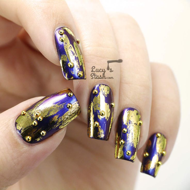 Duochrome & Gold Patching Nail Art using Dance Legend:  ★ Celia ★ with Gold Foil and Gold Buttons / Studs. ♥ this look!