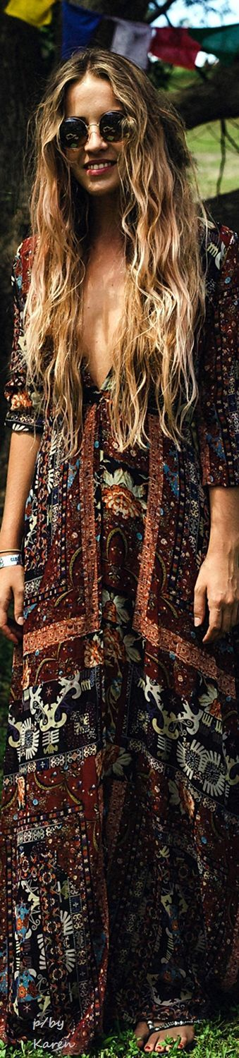 cool Boho Chic Music Festival Style maxi dress and round modern hippie sunglasses. ww...