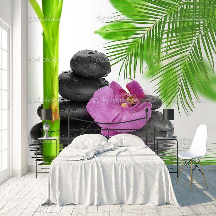 Fotobehang Orchidee op stenen | Maak het jezelf eenvoudig en bestel fotobehang voorzien van een lijmlaag bij YouPri om zo gemakkelijk jouw woonruimte een nieuwe stijl te geven. Voor het behangen heb je alleen water nodig! #behang #fotobehang #print #opdruk #afbeelding #diy #behangen #zen #massage #bloemen #orchidee #bamboe