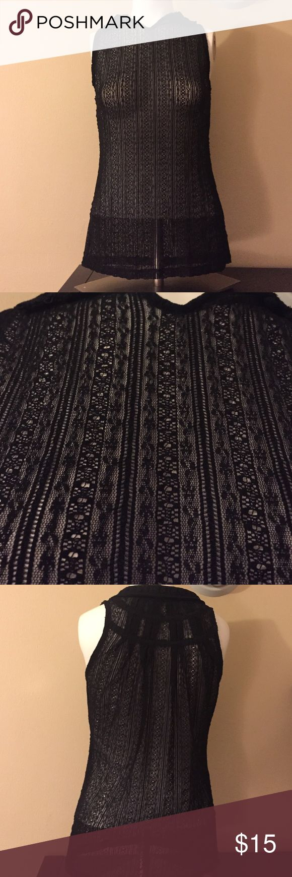 Black See through Tank Top Preowned and in beautiful condition. Size S. See through material. Sexy top The Limited Tops Tank Tops
