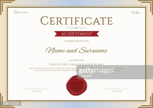 Vector Art : Certificate of achievement template in vector gold and red theme