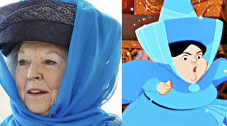 Koningin Beatrix en de Disneyfee Mooiweertje uit Doornroosje