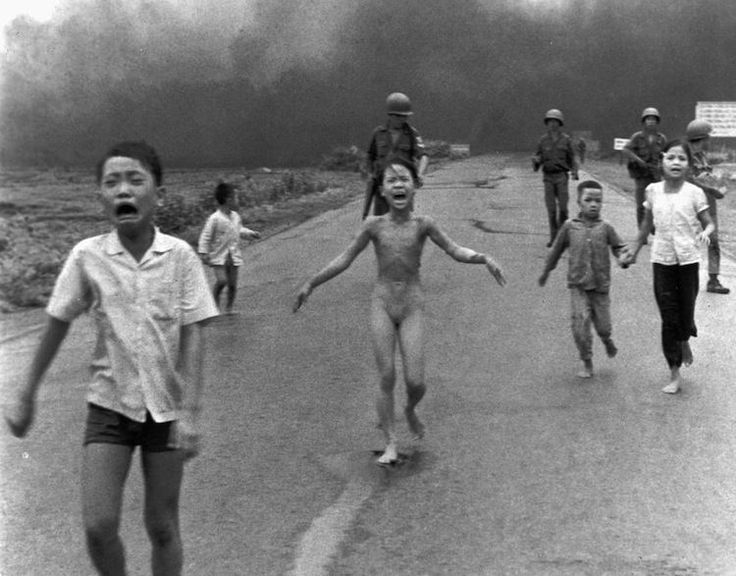 1972, Vietnam. The photographer was Hunyh Cong Ut, and this iconic photo captured the horror and terror of Vietnamese people fleeing a napalm attack. 9-year-old Kim Phúc ripped off her burning clothes, screaming in pain, and 41 years later the photo still shocks us (km).