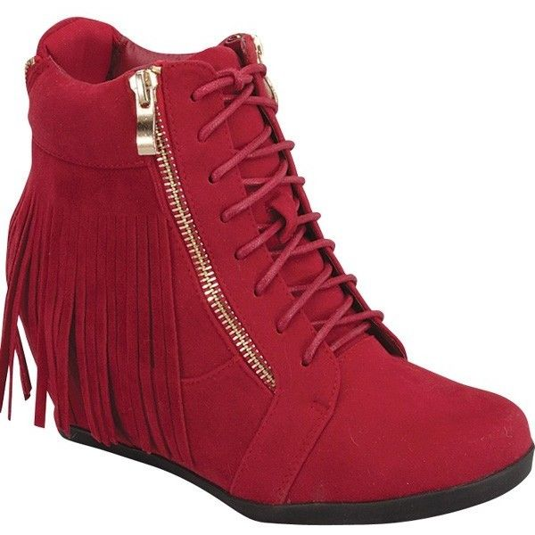 Red faux leather zipper accents fringe design sneaker wedges ($16) ❤ liked on Polyvore featuring shoes, sneakers, red, red wedge shoes, red high top sneakers, wedged sneakers, red trainer and red high top shoes